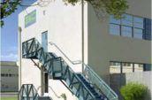 ESC Entertainment building exterior staircase