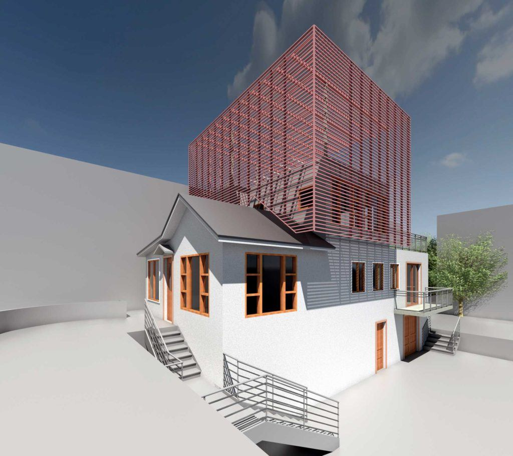 Day Street building exterior render with trellis