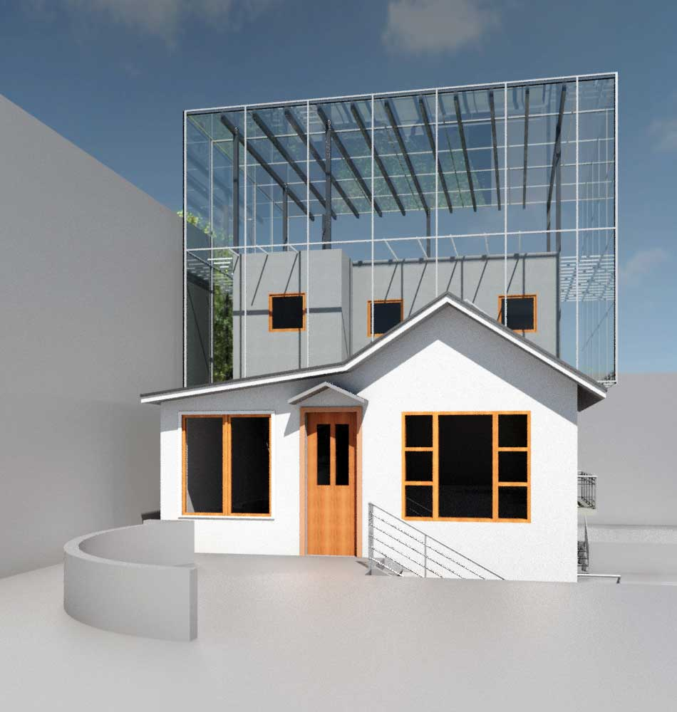 Day Street building exterior render with glass box