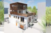 three building exterior renders of Day Street project with trellis