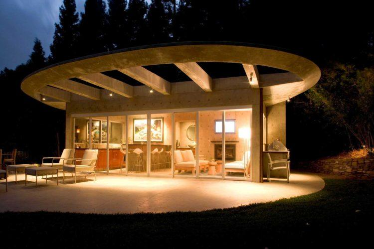 Clarke Residence pool house exterior night time